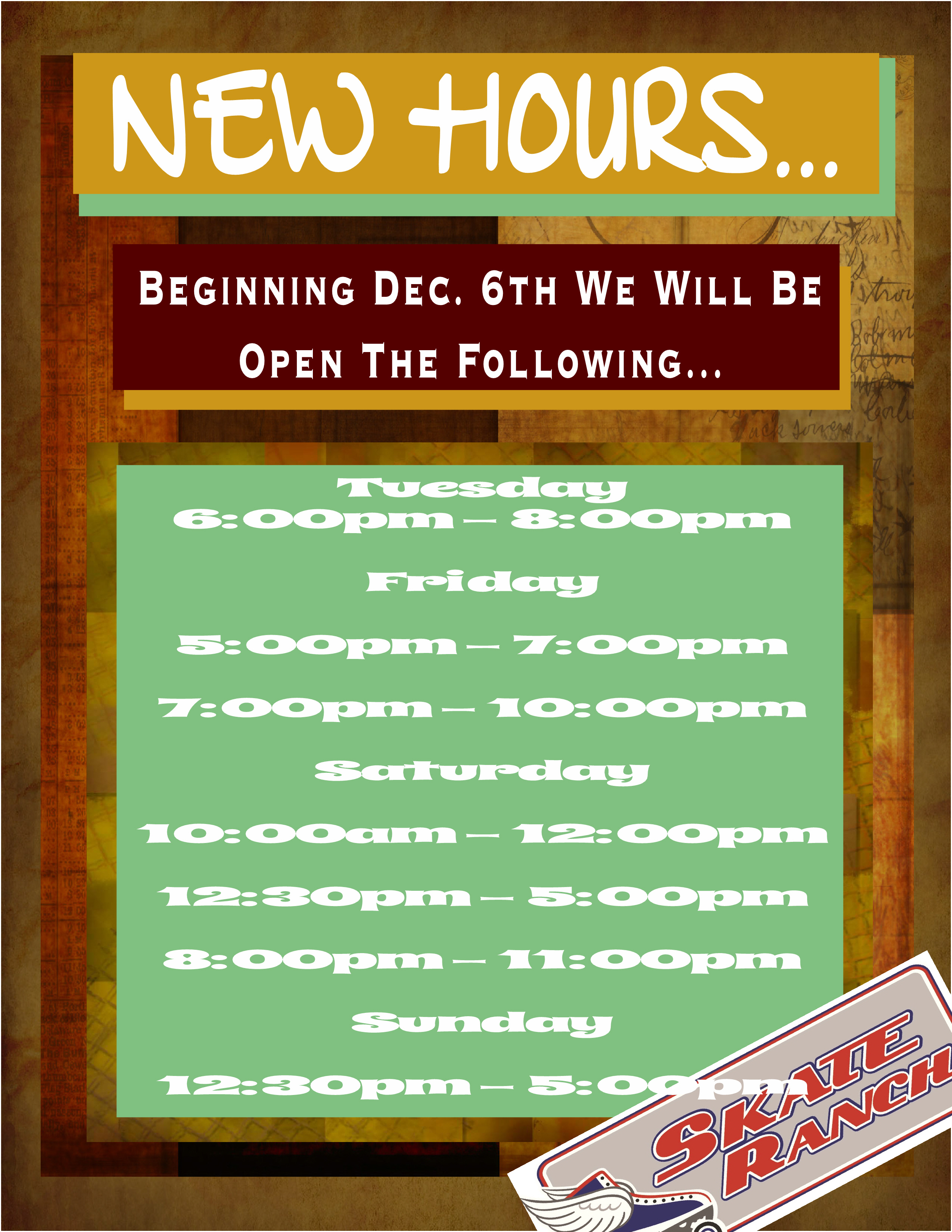 SR New Hours Poster