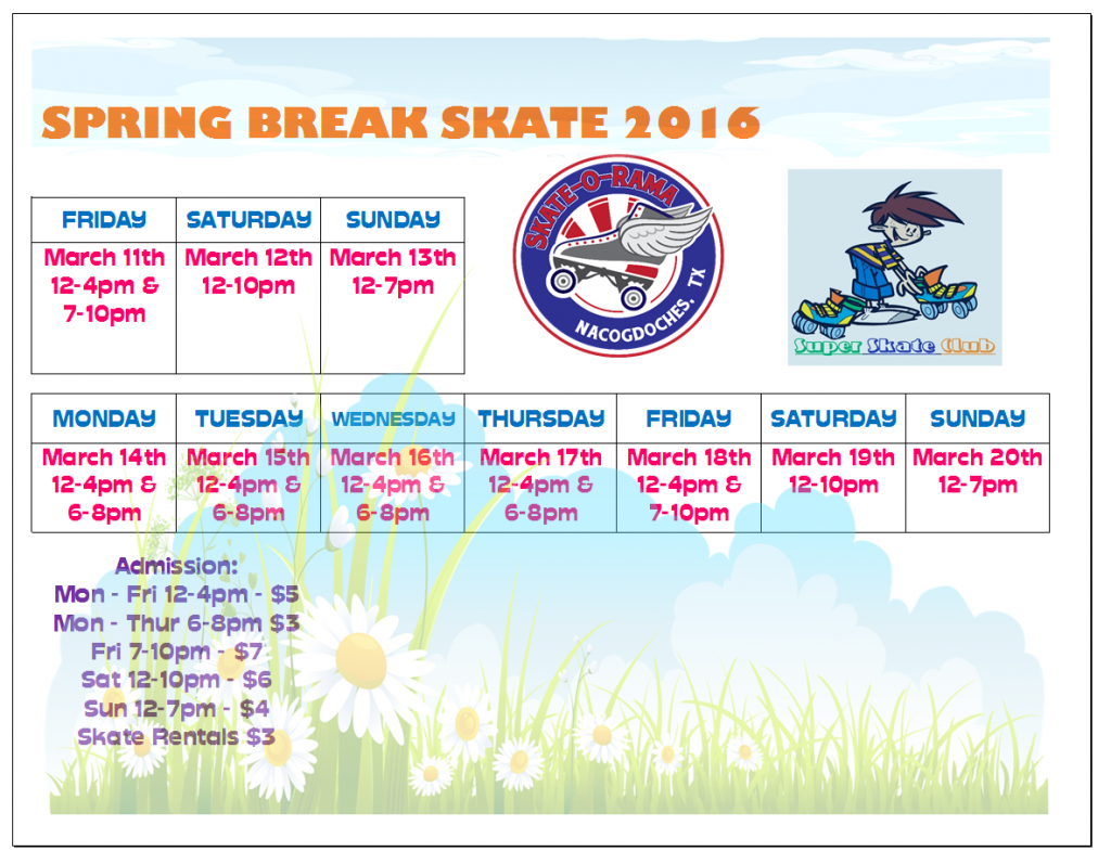 SOR Spring Break Schedule Excel
