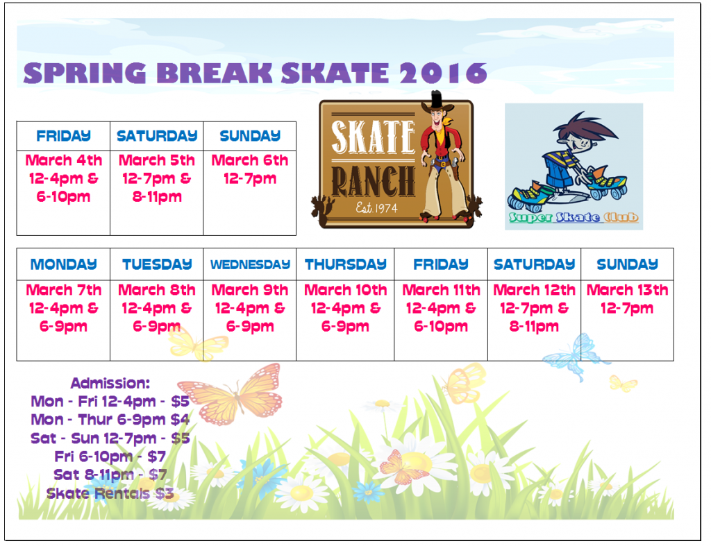 SR Spring Break Schedule Excel